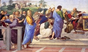 Reproduction oil paintings - Raphael - Disputation of the Holy Sacrament (La Disputa) [detail: 11]