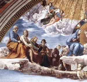 Reproduction oil paintings - Raphael - Disputation of the Holy Sacrament (La Disputa) [detail: 9]
