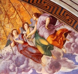 Reproduction oil paintings - Raphael - The Stanza della Segnatura Ceiling [detail: 2]