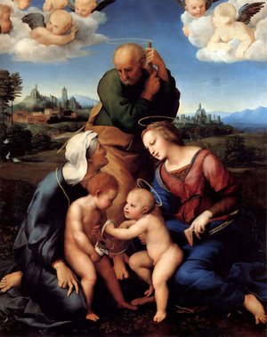 Famous paintings of The Holy Family: The Holy Family with Saints Elizabeth and John (or The Canigiani Holy Family)