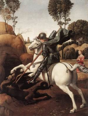 Famous paintings of Horses & Horse Riding: St George and the Dragon