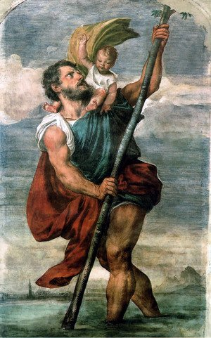 Famous paintings of Clouds & Skyscapes: Saint Christopher