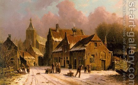 A Village In Winter by Adrianus Eversen - Reproduction Oil Painting