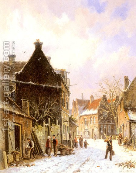 A Village Street Scene in Winter by Adrianus Eversen - Reproduction Oil Painting