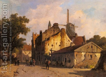 Village Scene With A Windmill by Adrianus Eversen - Reproduction Oil Painting