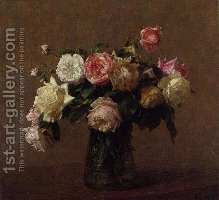 Bouquet of Roses by Ignace Henri Jean Fantin-Latour - Reproduction Oil Painting