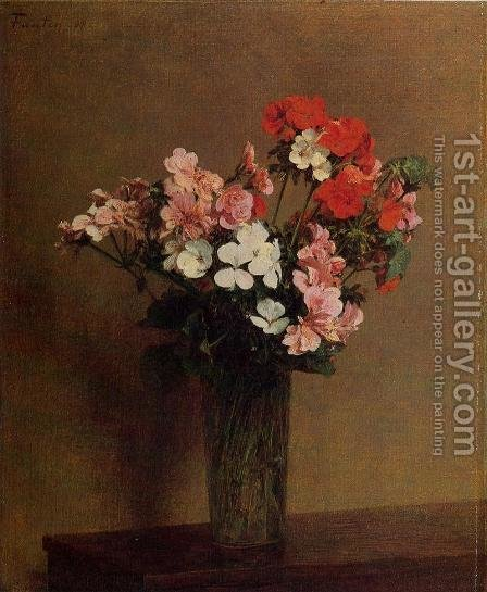 Geraniums by Ignace Henri Jean Fantin-Latour - Reproduction Oil Painting