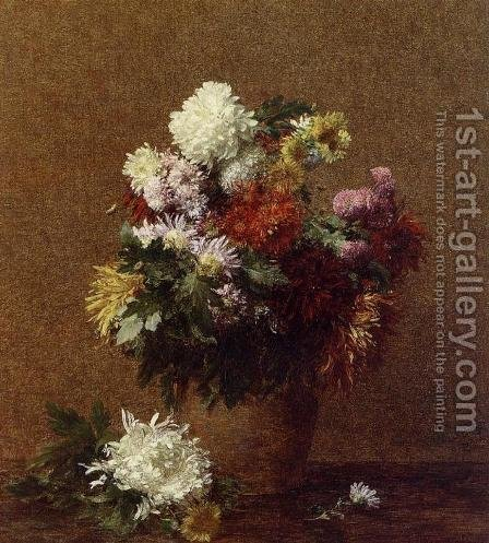Large Bouquet of Chrysanthemums by Ignace Henri Jean Fantin-Latour - Reproduction Oil Painting