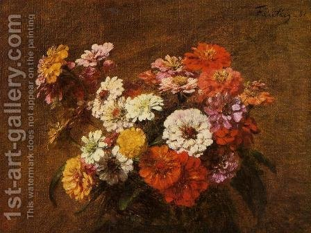 Zinnias in a Vase by Ignace Henri Jean Fantin-Latour - Reproduction Oil Painting