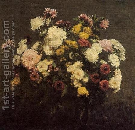 Large Bouquet of Crysanthemums by Ignace Henri Jean Fantin-Latour - Reproduction Oil Painting