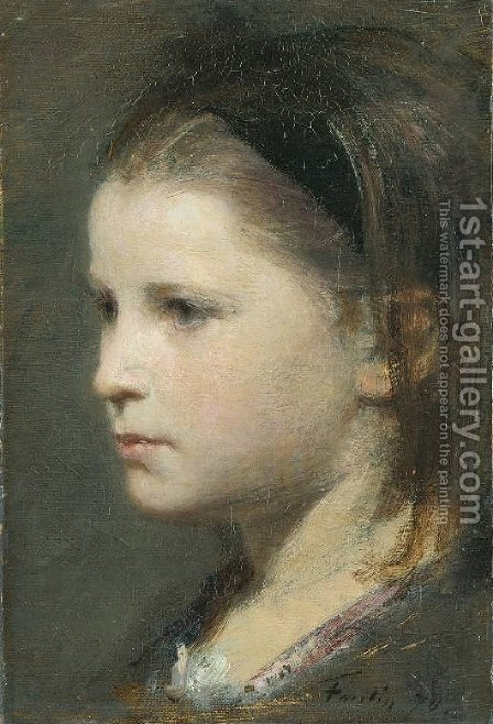 Head of a Young Girl by Ignace Henri Jean Fantin-Latour - Reproduction Oil Painting