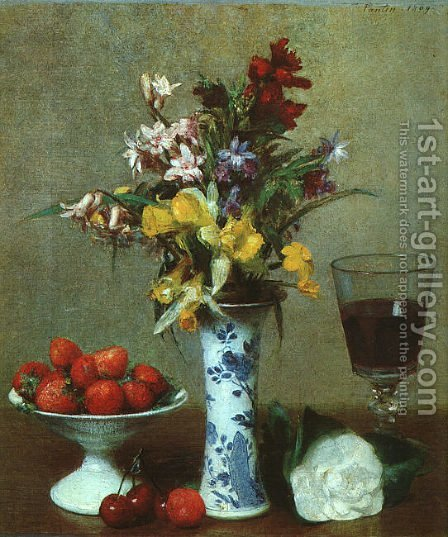 Still Life (or The Engagement) by Ignace Henri Jean Fantin-Latour - Reproduction Oil Painting
