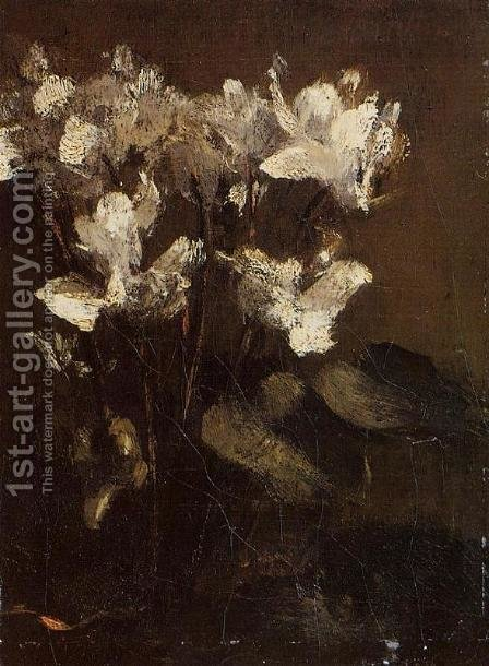 Fleurs, cyclamens by Ignace Henri Jean Fantin-Latour - Reproduction Oil Painting