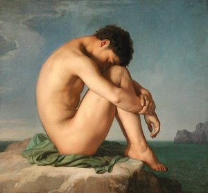 Famous paintings of Nautical: Jeune homme assis au bord de la mer (Young Man Sitting by the Seashore)