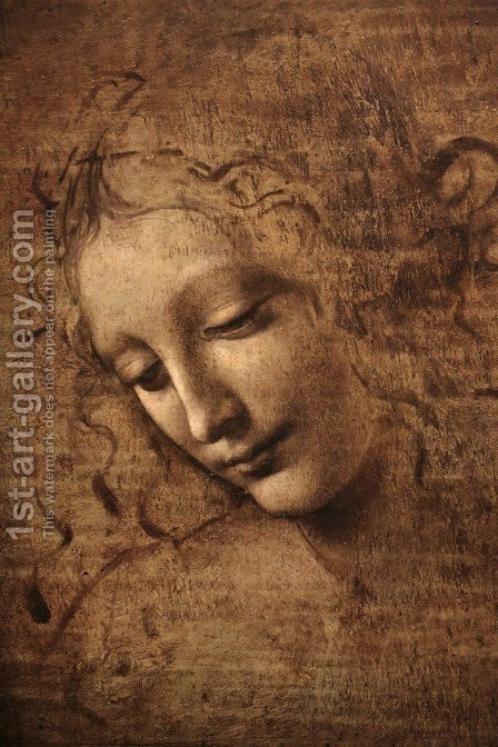 Leonardo Da Vinci: Female head (The Lady of the Dishevelled Hair) (or La Scapigliata) - reproduction oil painting
