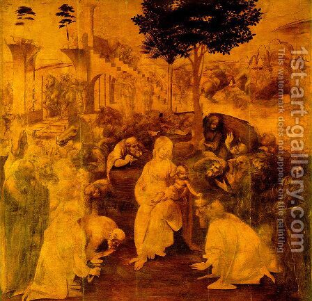 Leonardo Da Vinci: Adoration of the Magi - reproduction oil painting