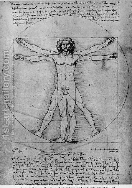 Leonardo Da Vinci: Vitruvian Man, Study of proportions, from Vitruvius's De Architectura - reproduction oil painting