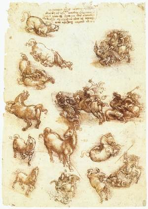 Reproduction oil paintings - Leonardo Da Vinci - Study sheet with horses