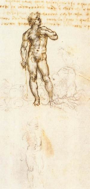 Reproduction oil paintings - Leonardo Da Vinci - Study of David by Michelangelo