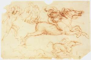 Reproduction oil paintings - Leonardo Da Vinci - Galloping Rider and other figures
