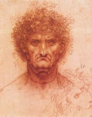 Reproduction oil paintings - Leonardo Da Vinci - Old man with ivy wreath and lion's head