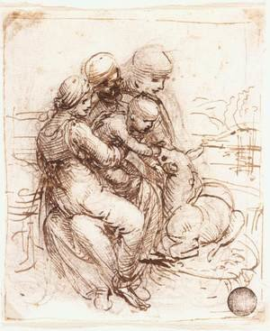 Reproduction oil paintings - Leonardo Da Vinci - Study of St Anne, Mary, the Christ Child and the young St John