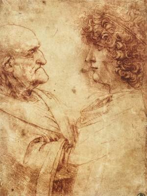 Reproduction oil paintings - Leonardo Da Vinci - Heads of an old man and a youth