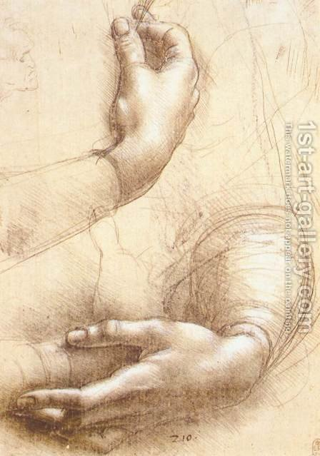 Leonardo Da Vinci: Study of hands - reproduction oil painting