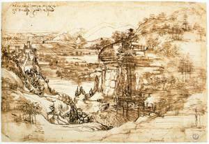 Reproduction oil paintings - Leonardo Da Vinci - Landscape drawing for Santa Maria della Neve on 5th August 1473