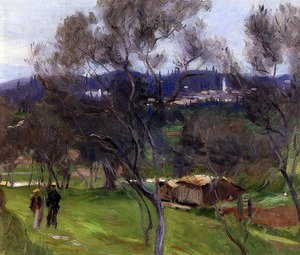 Famous paintings of Villages: Olive Trees, Corfu