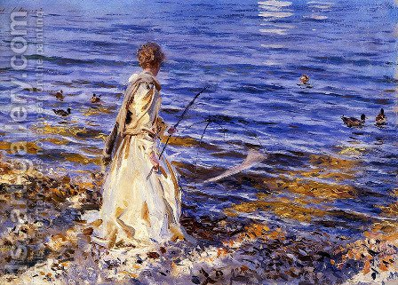 Girl Fishing by Sargent - Reproduction Oil Painting