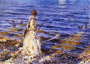 Famous paintings of Nautical: Girl Fishing