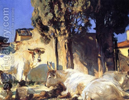 Sargent: Oxen Resting - reproduction oil painting