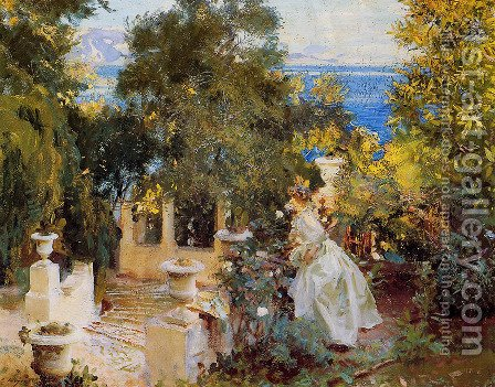 Sargent: A Garden in Corfu - reproduction oil painting
