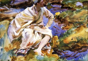 Reproduction oil paintings - Sargent - A Man Seated by a Stream, Val d'Aosta, Purtud