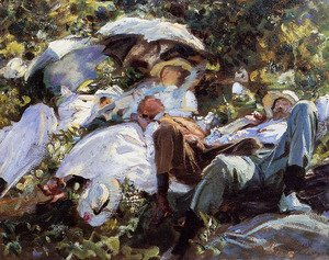 Famous paintings of Parasols and Umbrellas: Group with Parasols (or A Siesta)