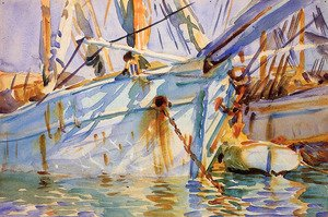 Famous paintings of Ships & Boats: In a Levantine Port