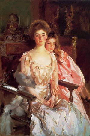 Famous paintings of Furniture: Mrs. Fiske Warren and Her Daughter Rachel