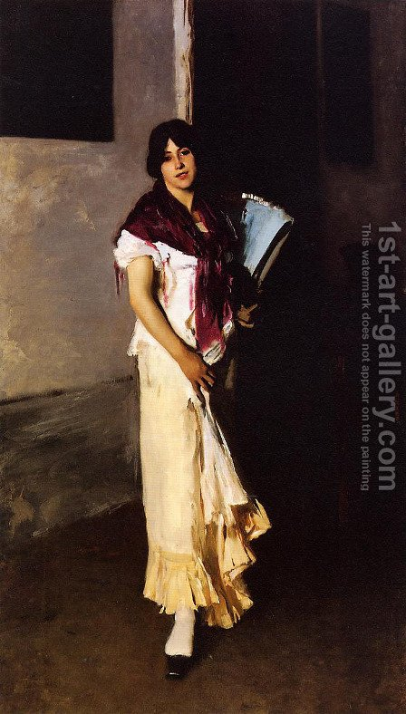 Italian Girl with Fan by Sargent - Reproduction Oil Painting