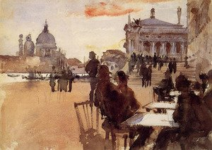 Famous paintings of Cafes & Bistros: Cafe on the Riva degli Schiavoni