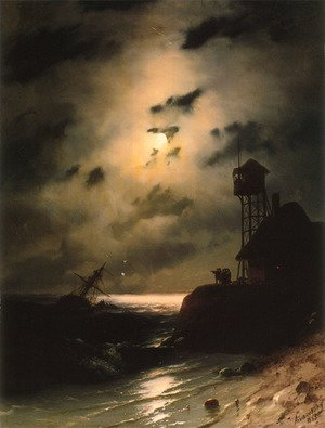 Reproduction oil paintings - Ivan Konstantinovich Aivazovsky - Moonlit Seascape With Shipwreck
