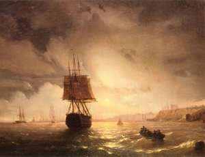 Reproduction oil paintings - Ivan Konstantinovich Aivazovsky - The Harbor At Odessa On The Black Sea
