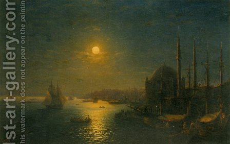 A Moonlit View of the Bosphorus by Ivan Konstantinovich Aivazovsky - Reproduction Oil Painting