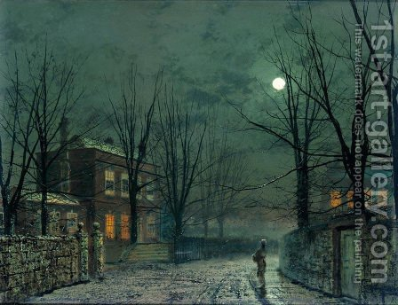 The Old Hall Under Moonlight by John Atkinson Grimshaw - Reproduction Oil Painting