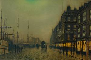 Famous paintings of Ships & Boats: Liverpool Quay by Moonlight