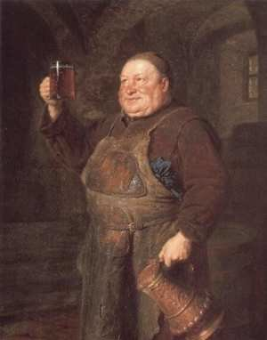 Famous paintings of Men: Monch Mit Bierkrug