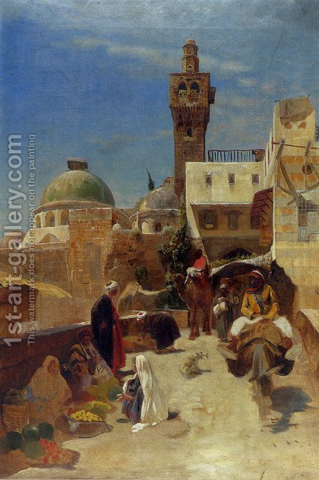 Orientalische Strassenszene by Gustave Bauernfeind - Reproduction Oil Painting