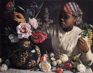 Frederic Bazille reproductions - African woman with Peonies, 1870