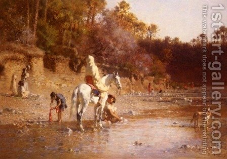 La Riviere A El-Katara (The River at El-Katara) by Gustave Achille Guillaumet - Reproduction Oil Painting