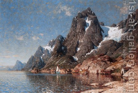 Seilbåter På Fjorden (Sailing on the Fjord) by Adelsteen Normann - Reproduction Oil Painting